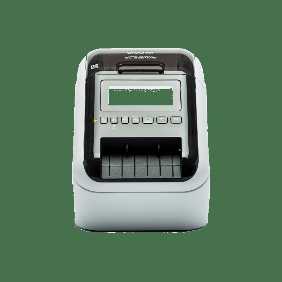 QL-820NWB 62mm desktop labelprinter voor professionele labels in zwart en rood