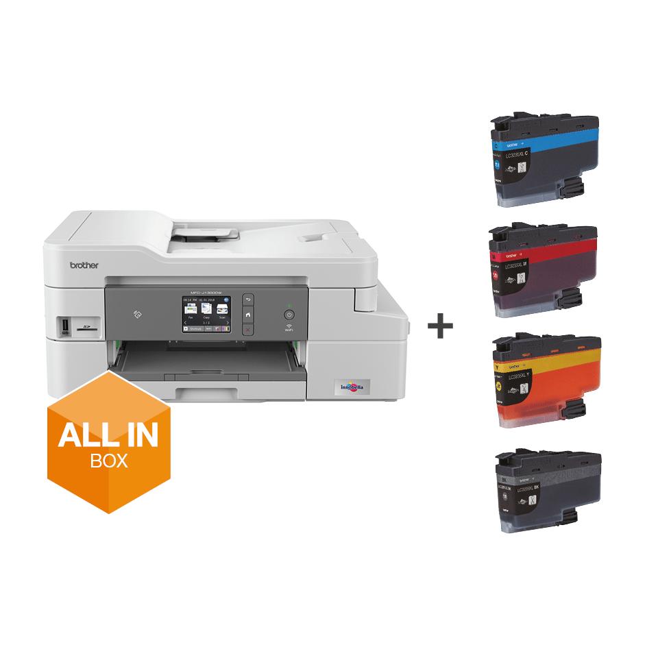 MFC-J1300DW All in Box imprimante jet d'encre couleur multifonctions + 4 cartouches d'encre 7