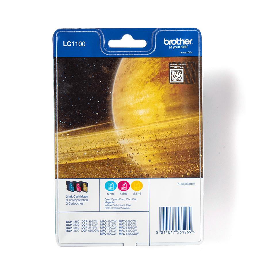 Pack de cartouches d'encre LC1100RBWBP Brother original – cyan, magenta et jaune