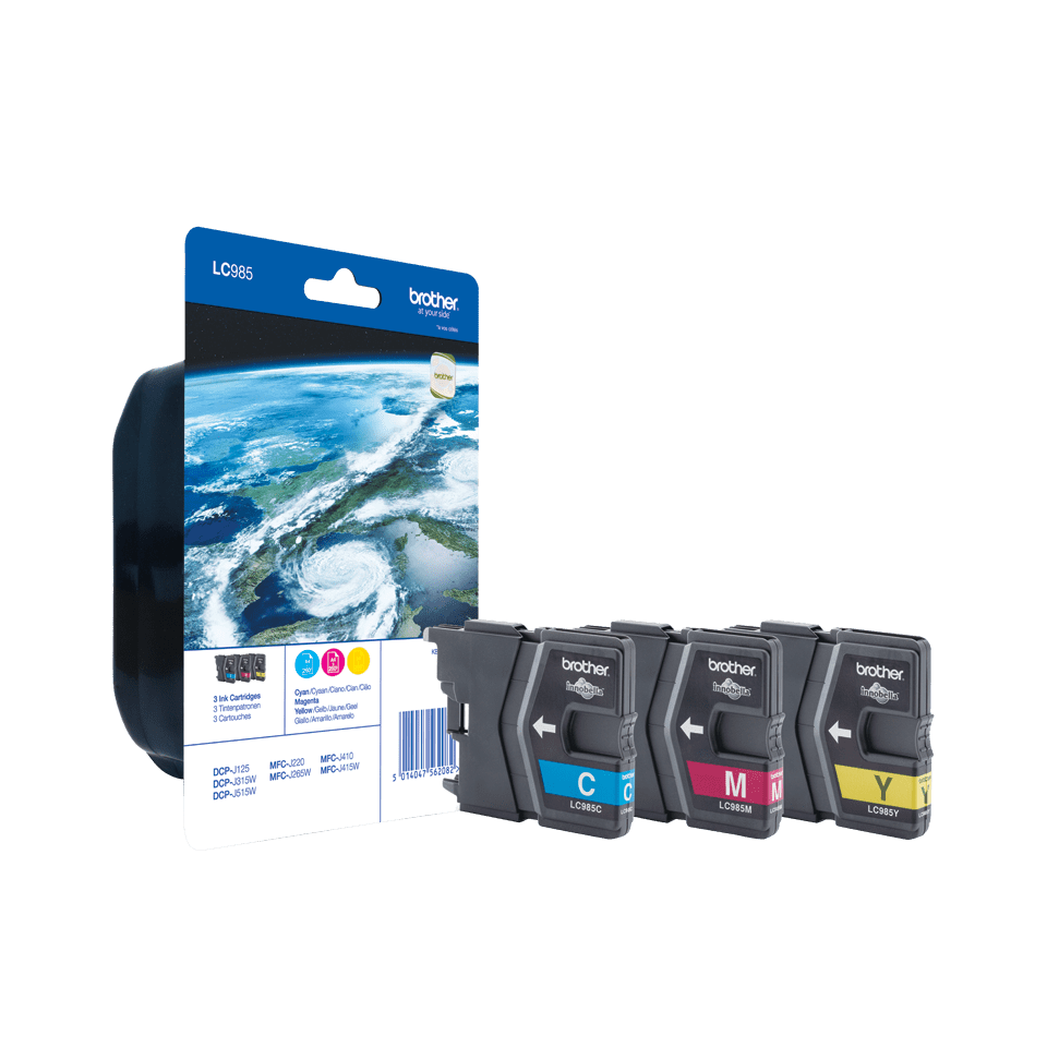 Pack de cartouches d'encre LC985RBWBP Brother original – cyan, magenta et jaune