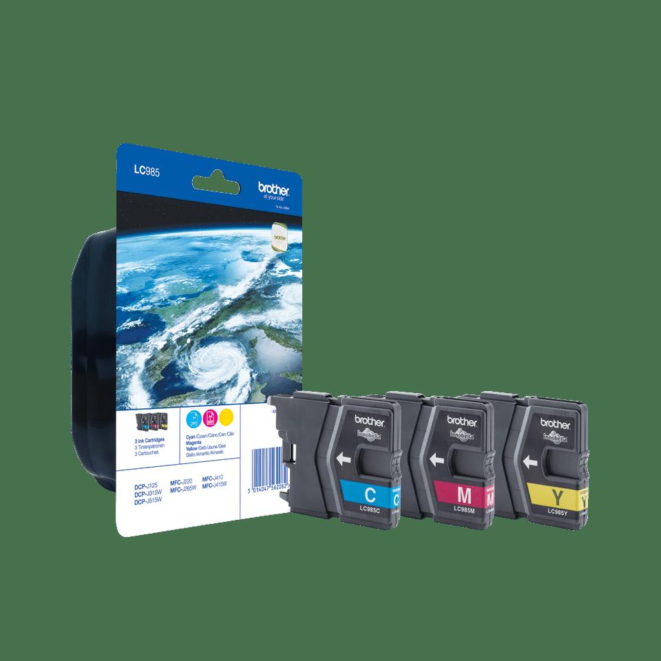 Pack de cartouches d'encre LC985RBWBP Brother original – cyan, magenta et jaune