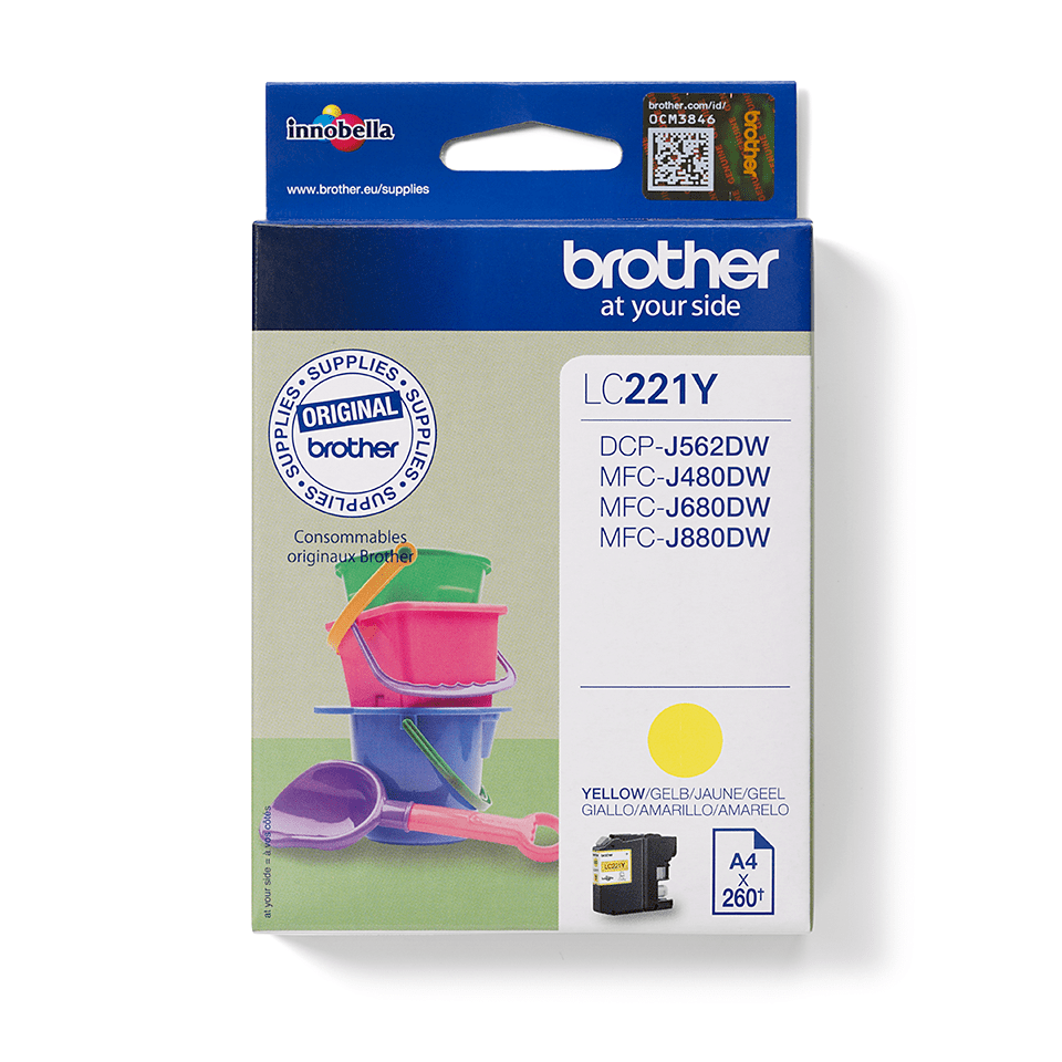 Cartouche d'encre LC221Y Brother originale – jaune