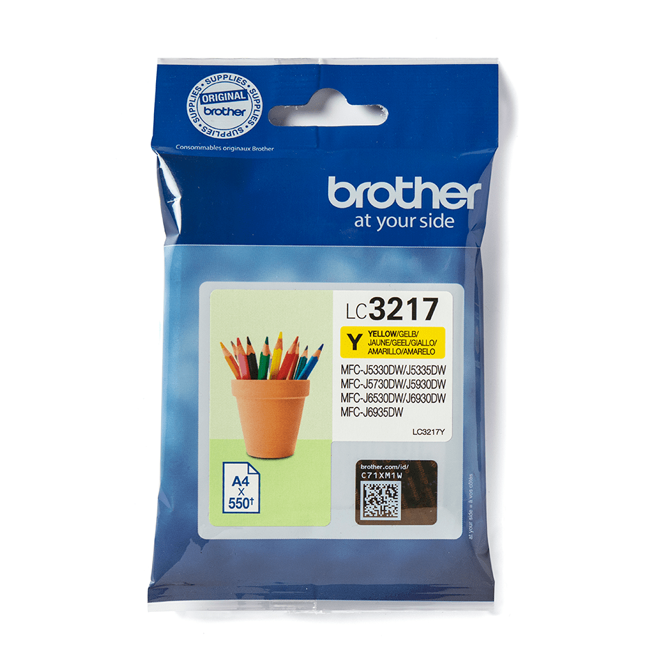 Cartouche d'encre LC3217Y Brother originale – jaune