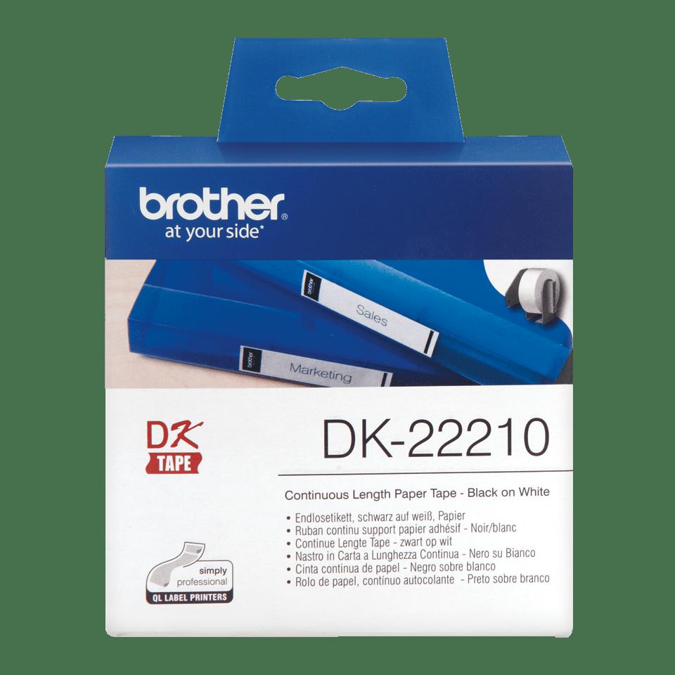Originele Brother doorlopende papier tape DK-22210 - zwart op wit 0