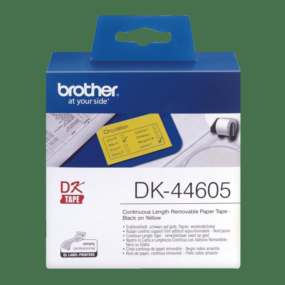 Originele Brother verwijderbare doorlopende papier tape DK-44605 - zwart op geel 0