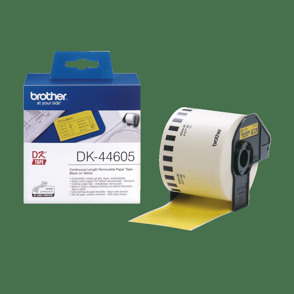 Originele Brother verwijderbare doorlopende papier tape DK-44605 - zwart op geel 2