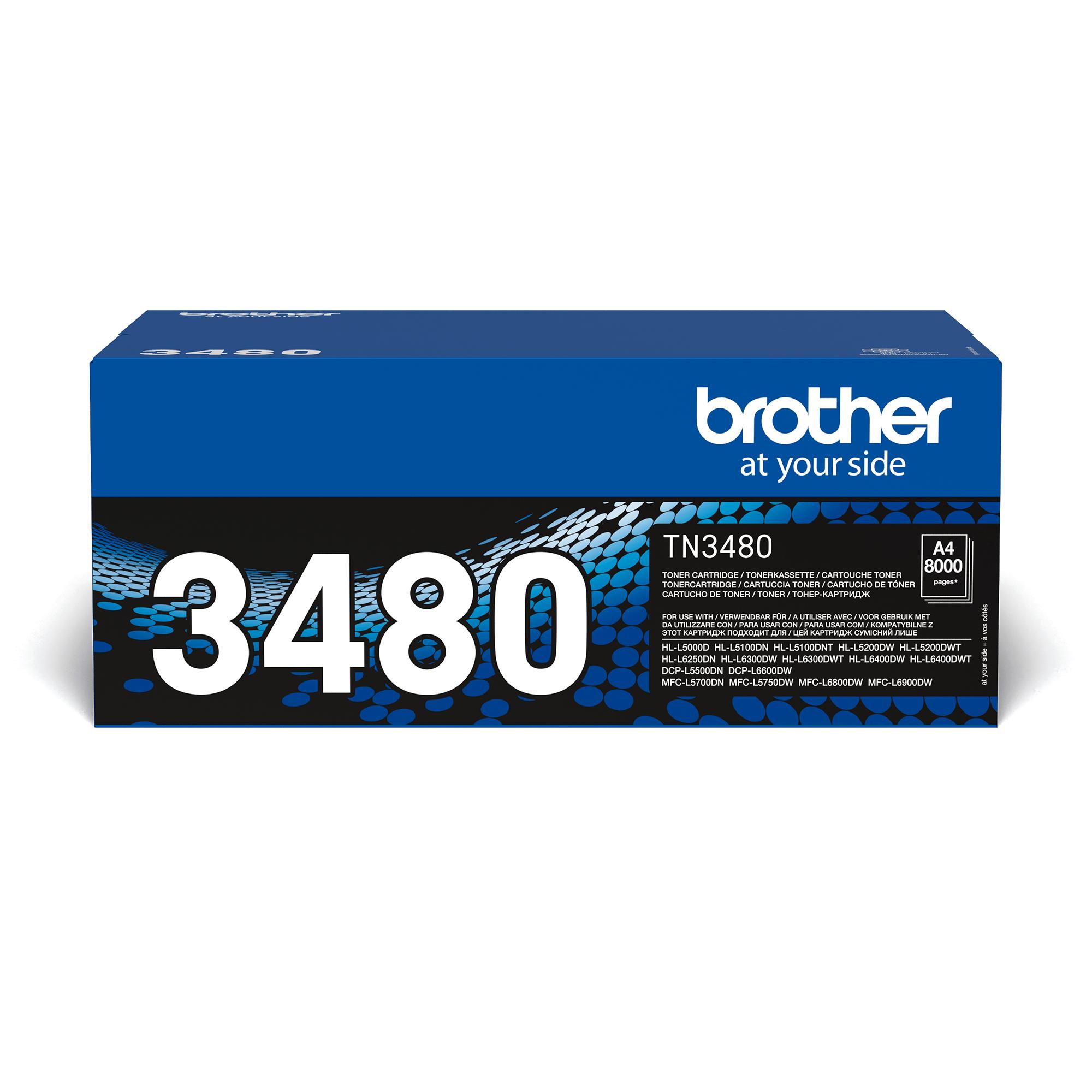 TN-3480 originele zwarte Brother toner met hoog rendement 0