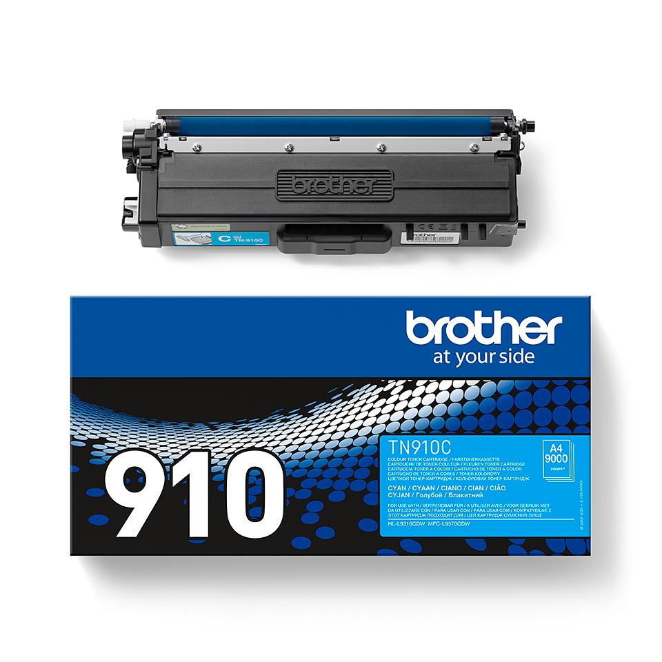 TN-910C originele cyaan Brother toner met ultra hoog rendement