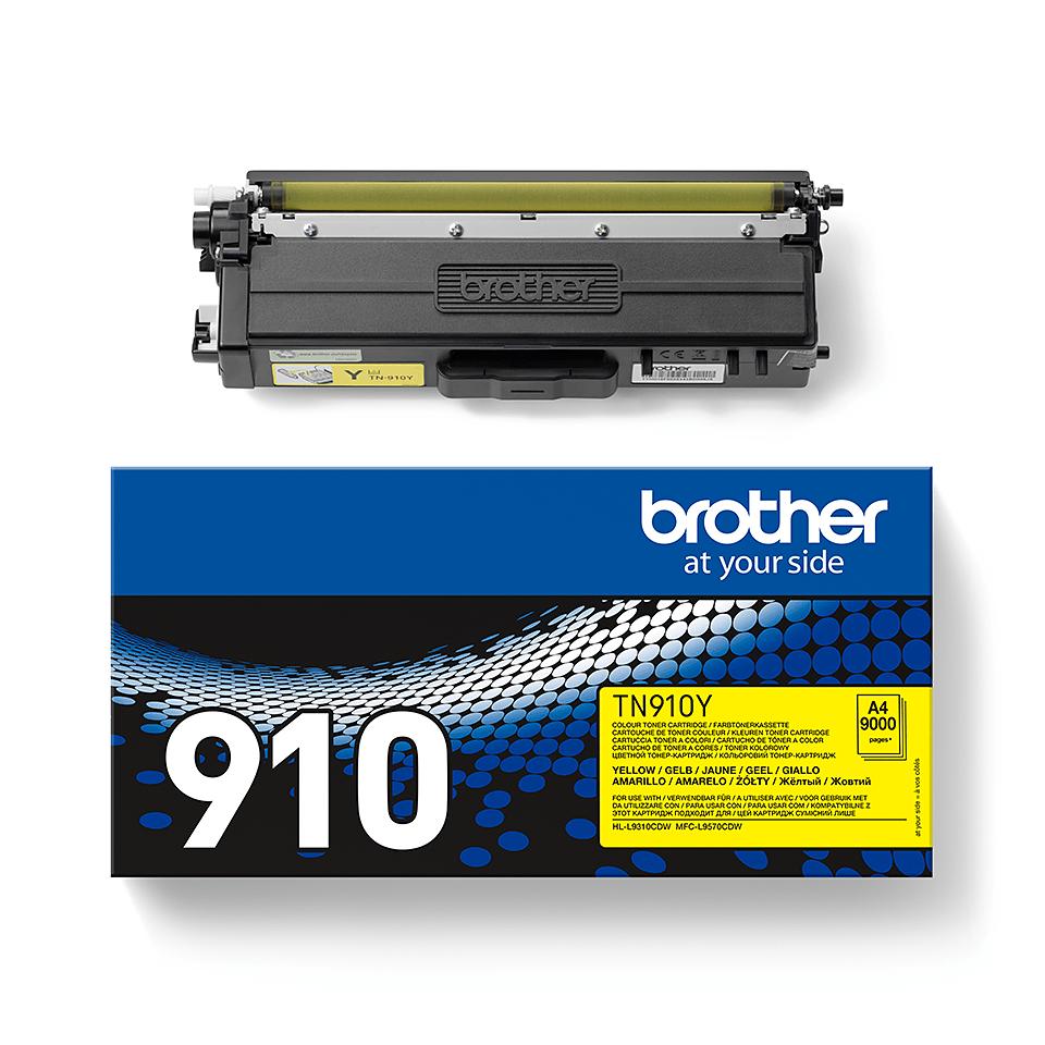 TN-910Y originele gele Brother toner met ultra hoog rendement