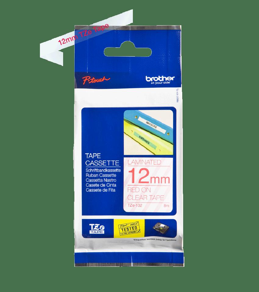 Cassette à ruban pour étiqueteuse TZe-132 Brother originale – Rouge sur transparent, 12mm de large 1