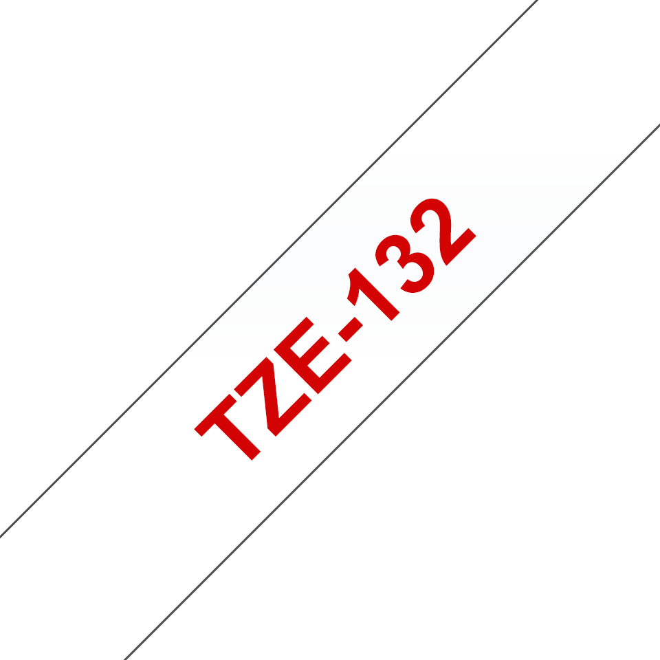 Cassette à ruban pour étiqueteuse TZe-132 Brother originale – Rouge sur transparent, 12mm de large 2