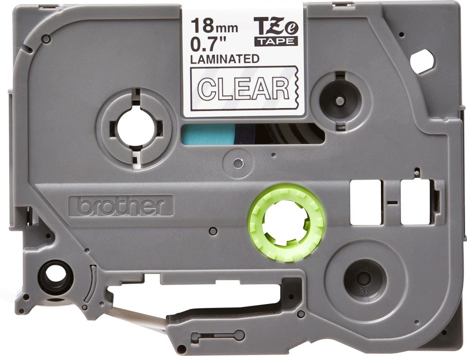 Originele Brother TZe-145 labeltape cassette – Wit op transparant, 18mm breed 0