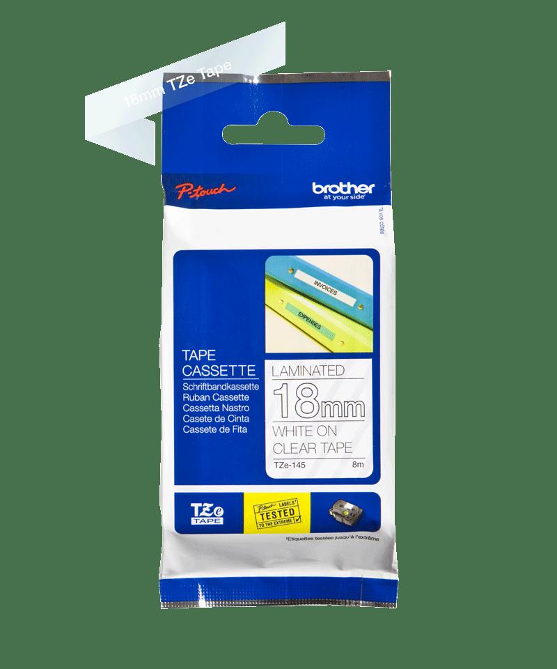 Originele Brother TZe-145 labeltape cassette – Wit op transparant, 18mm breed 1