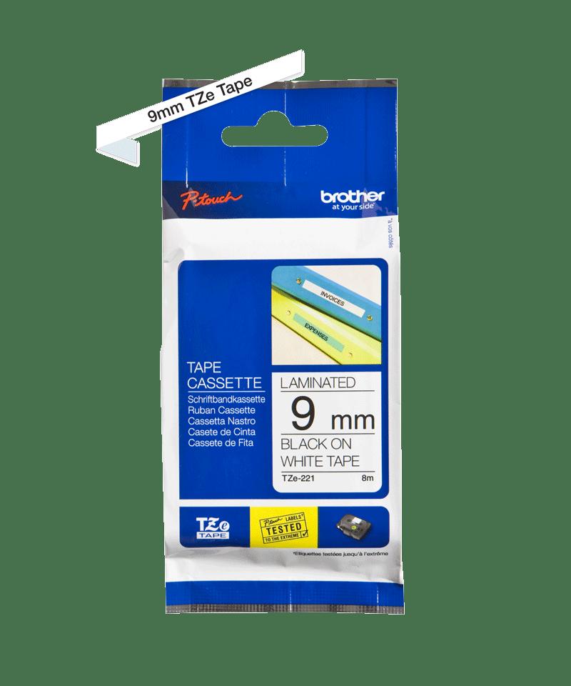 Cassette à ruban pour étiqueteuse TZe-221 Brother originale – Noir sur blanc, 9mm de large 1