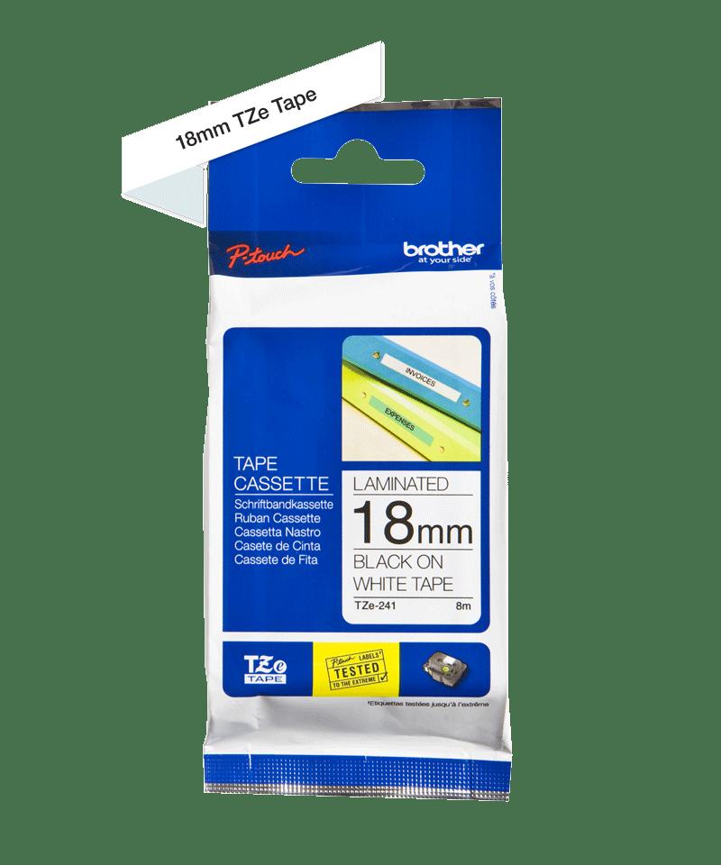 Originele Brother TZe-241 labeltape cassette – Zwart op wit, 18mm breed 1