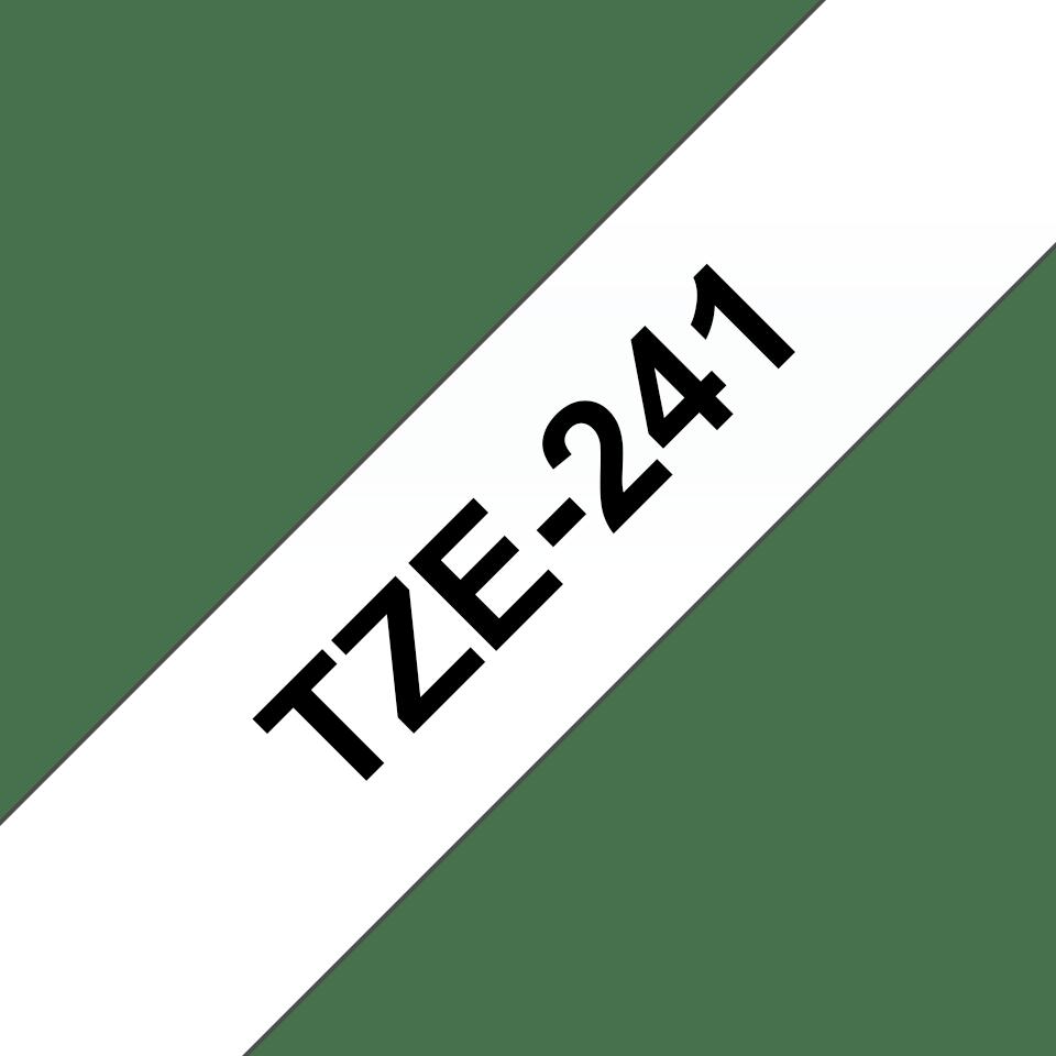 Originele Brother TZe-241 labeltape cassette – Zwart op wit, 18mm breed 2