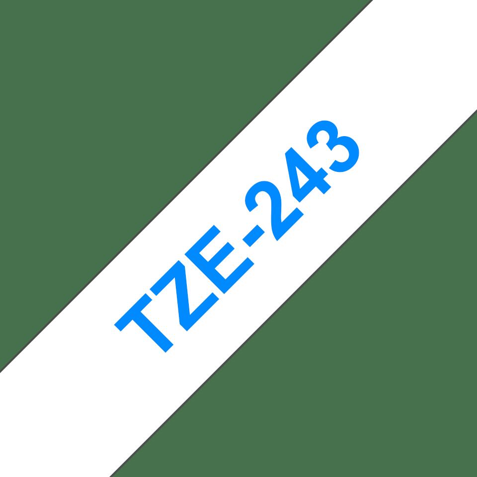 Originele Brother TZe-243 labeltape cassette – Blauw op wit, 18mm breed 2