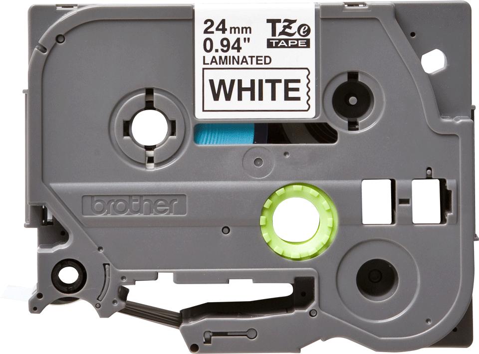 Originele Brother TZe-251 labeltape cassette – Zwart op wit, 24mm breed 0