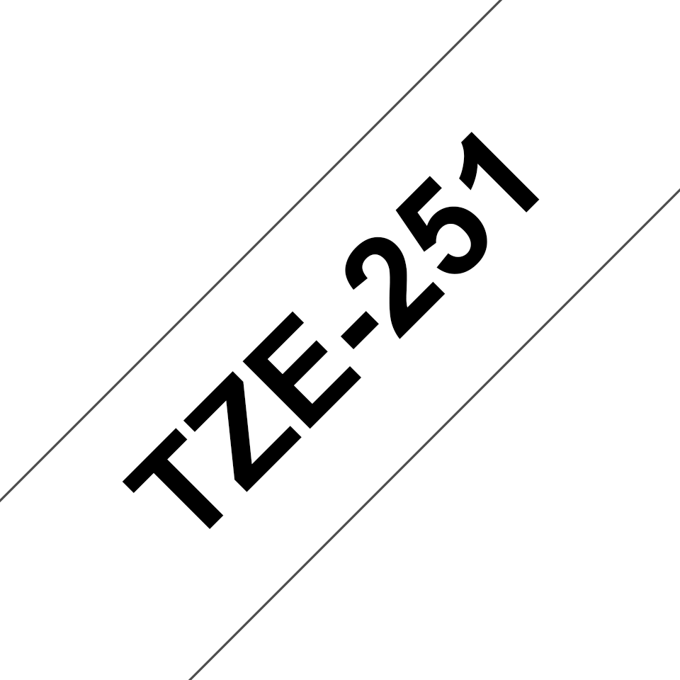 Originele Brother TZe-251 labeltape cassette – Zwart op wit, 24mm breed 2