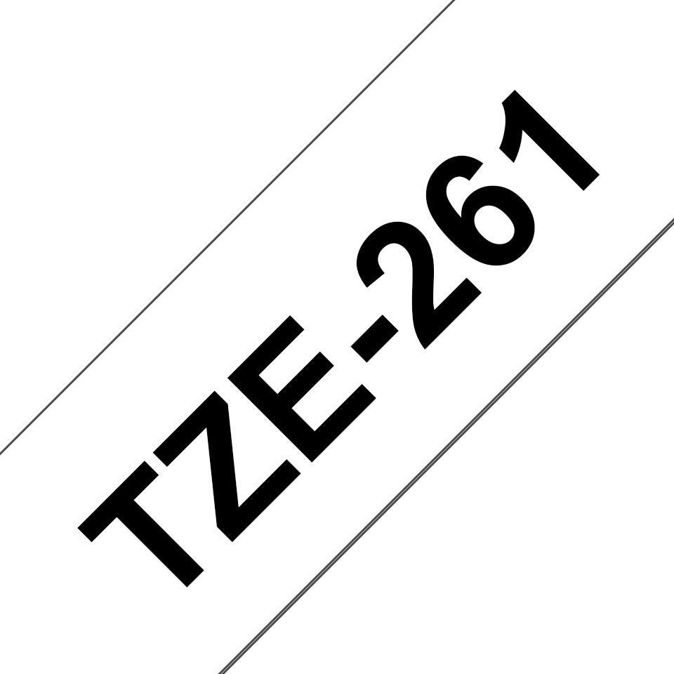 Originele Brother TZe-261 labeltape cassette – Zwart op wit, 36mm breed 2