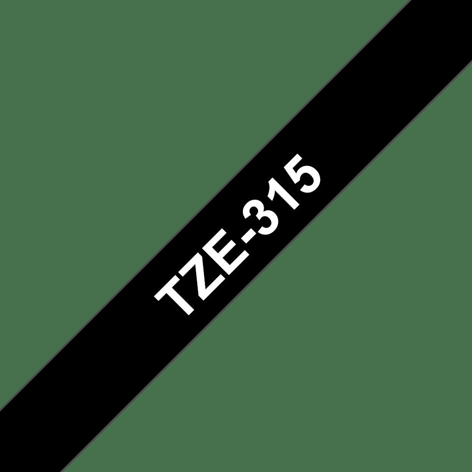 Originele Brother TZe-315 labeltape cassette – Wit op zwart, 6mm breed 2