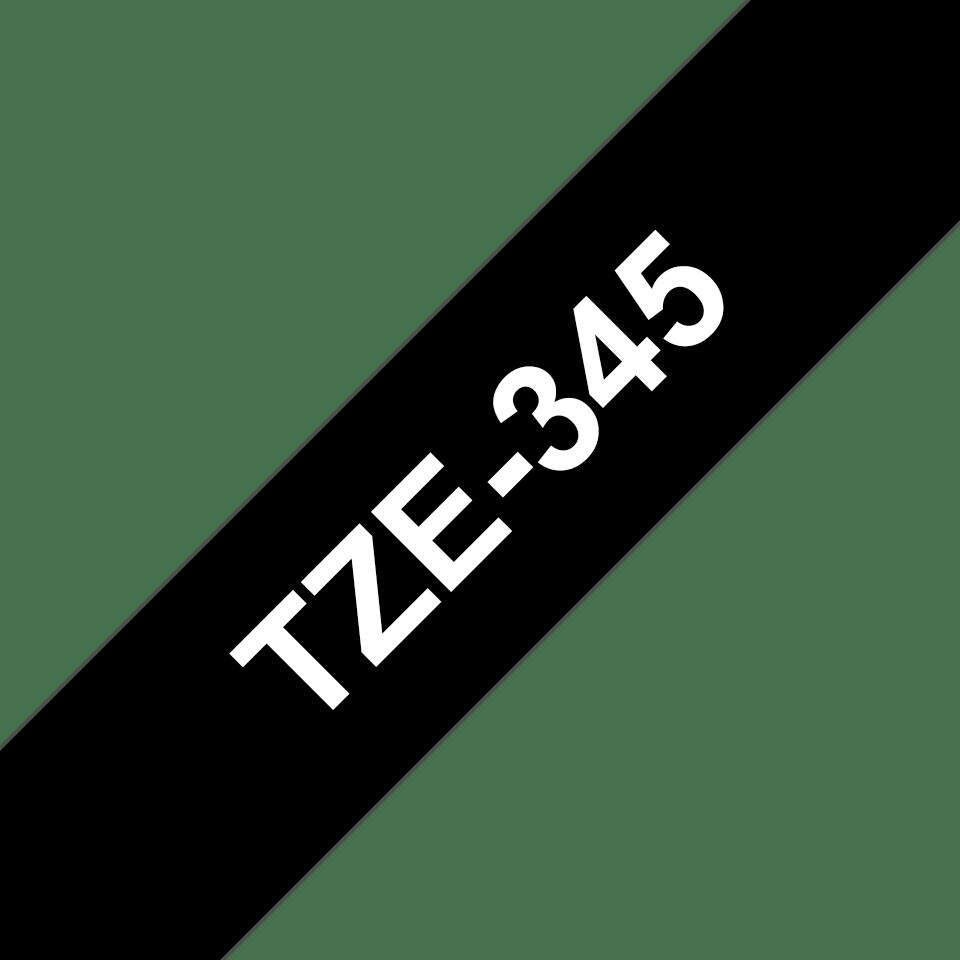 Originele Brother TZe-345 labeltape cassette – Wit op zwart, 18mm breed 2