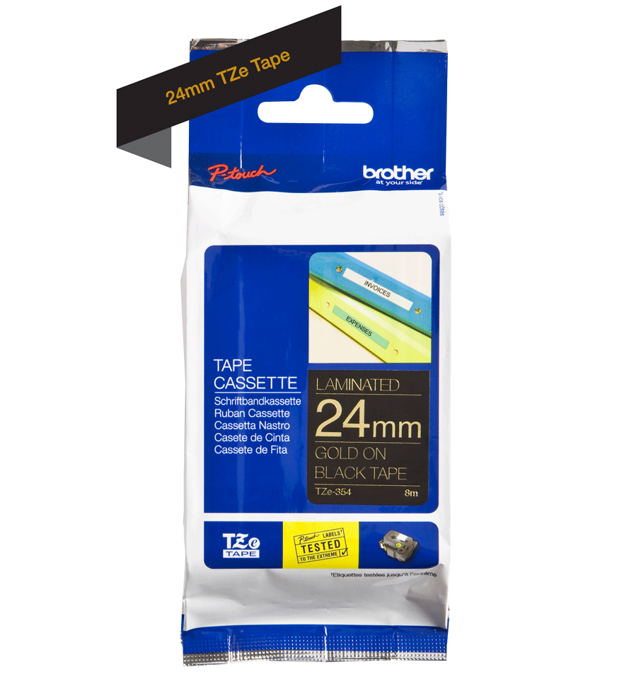 Originele Brother TZe-354 labeltape cassette – Goud op zwart, 24mm breed 1