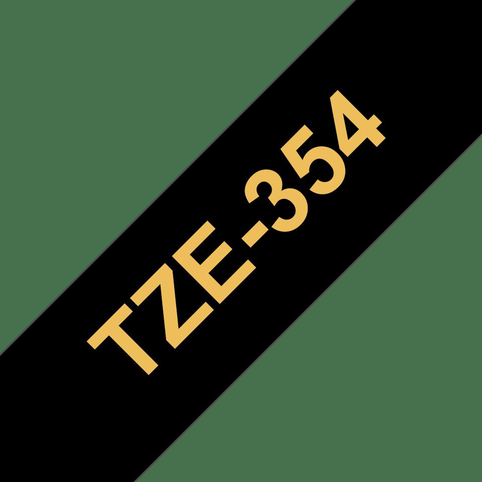 Originele Brother TZe-354 labeltape cassette – Goud op zwart, 24mm breed 2