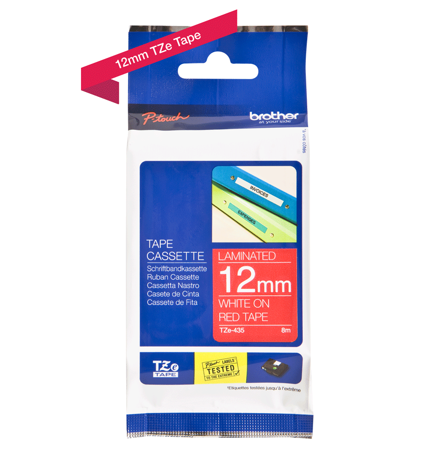 Cassette à ruban pour étiqueteuse TZe-435 Brother originale – Blanc sur rouge, 12mm de large 1
