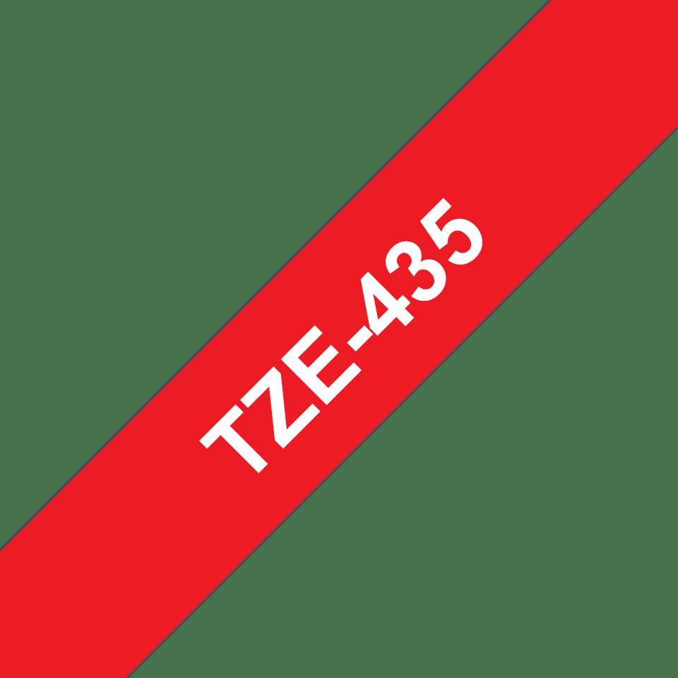Cassette à ruban pour étiqueteuse TZe-435 Brother originale – Blanc sur rouge, 12mm de large 2