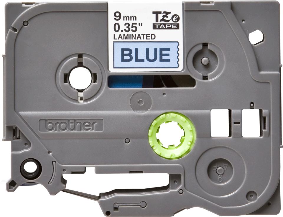 Originele Brother TZe-521 labeltape cassette – Zwart op blauw, 9mm breed 0