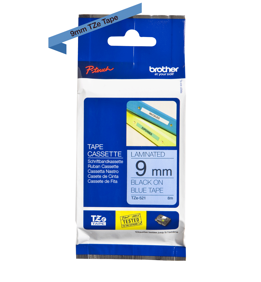 Originele Brother TZe-521 labeltape cassette – Zwart op blauw, 9mm breed 1