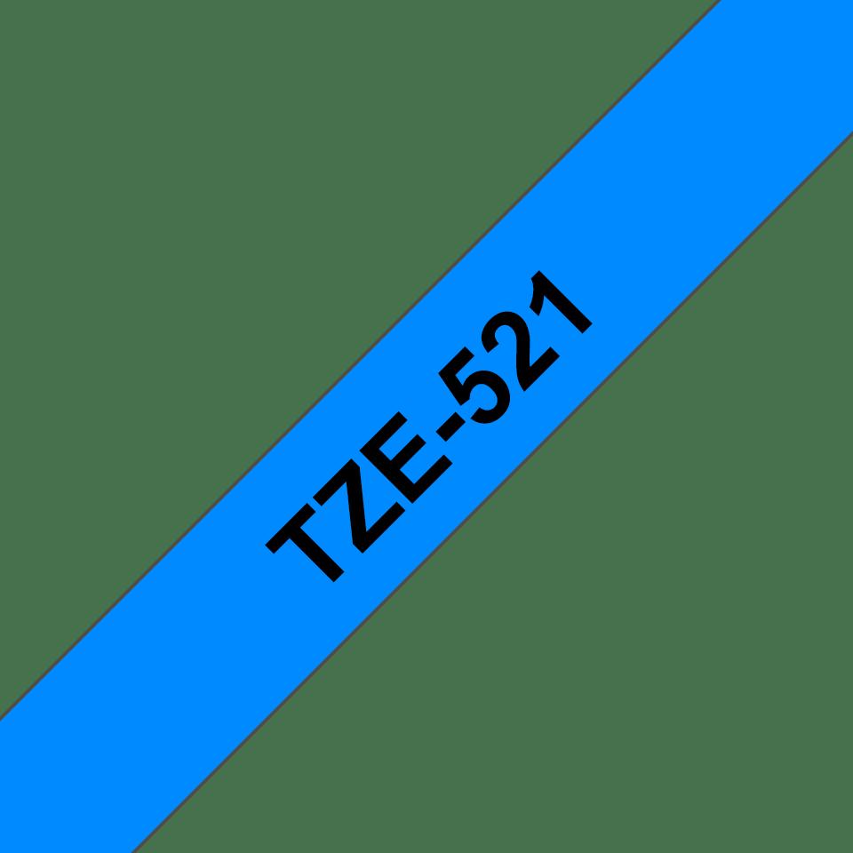 Originele Brother TZe-521 labeltape cassette – Zwart op blauw, 9mm breed 2