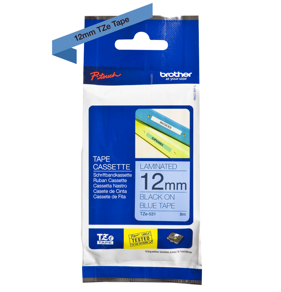 Originele Brother TZe-531 labeltape cassette – Zwart op blauw, 12mm breed 1