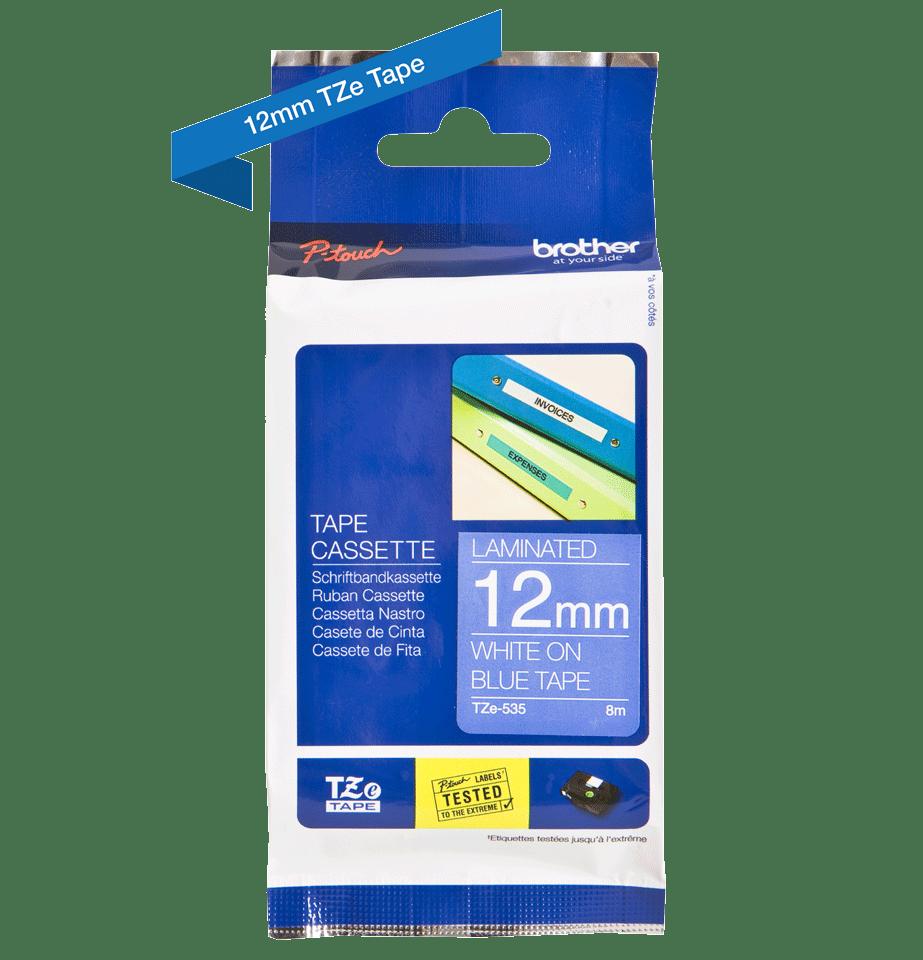 Originele Brother TZe-535 labeltape cassette – Wit op blauw, 12mm breed 1