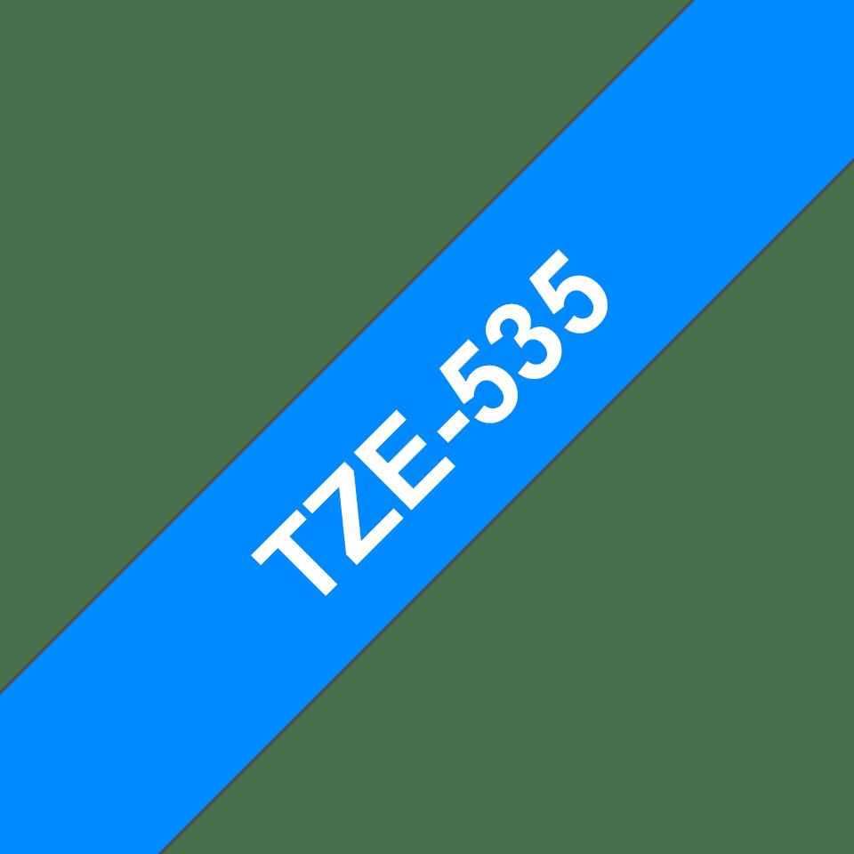 Originele Brother TZe-535 labeltape cassette – Wit op blauw, 12mm breed 2