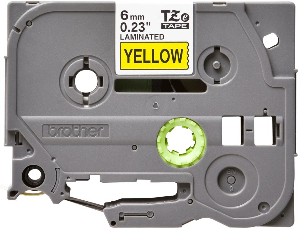 Cassette à ruban pour étiqueteuse TZe-611 Brother originale – Noir sur jaune, 6mm de large 0