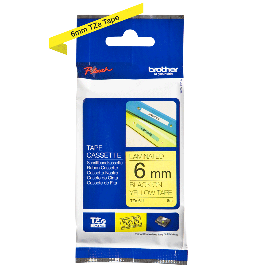 Cassette à ruban pour étiqueteuse TZe-611 Brother originale – Noir sur jaune, 6mm de large 1