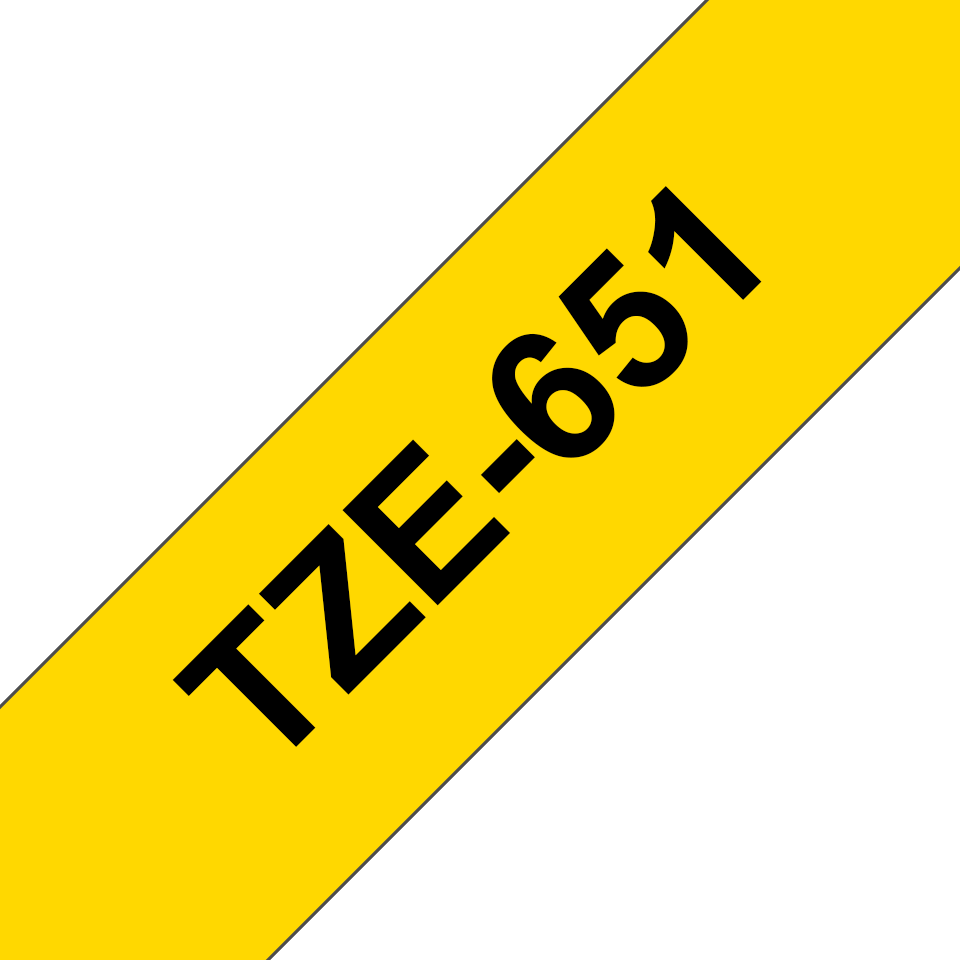 Originele Brother TZe-651 labeltape cassette – Zwart op geel, 24mm breed 2