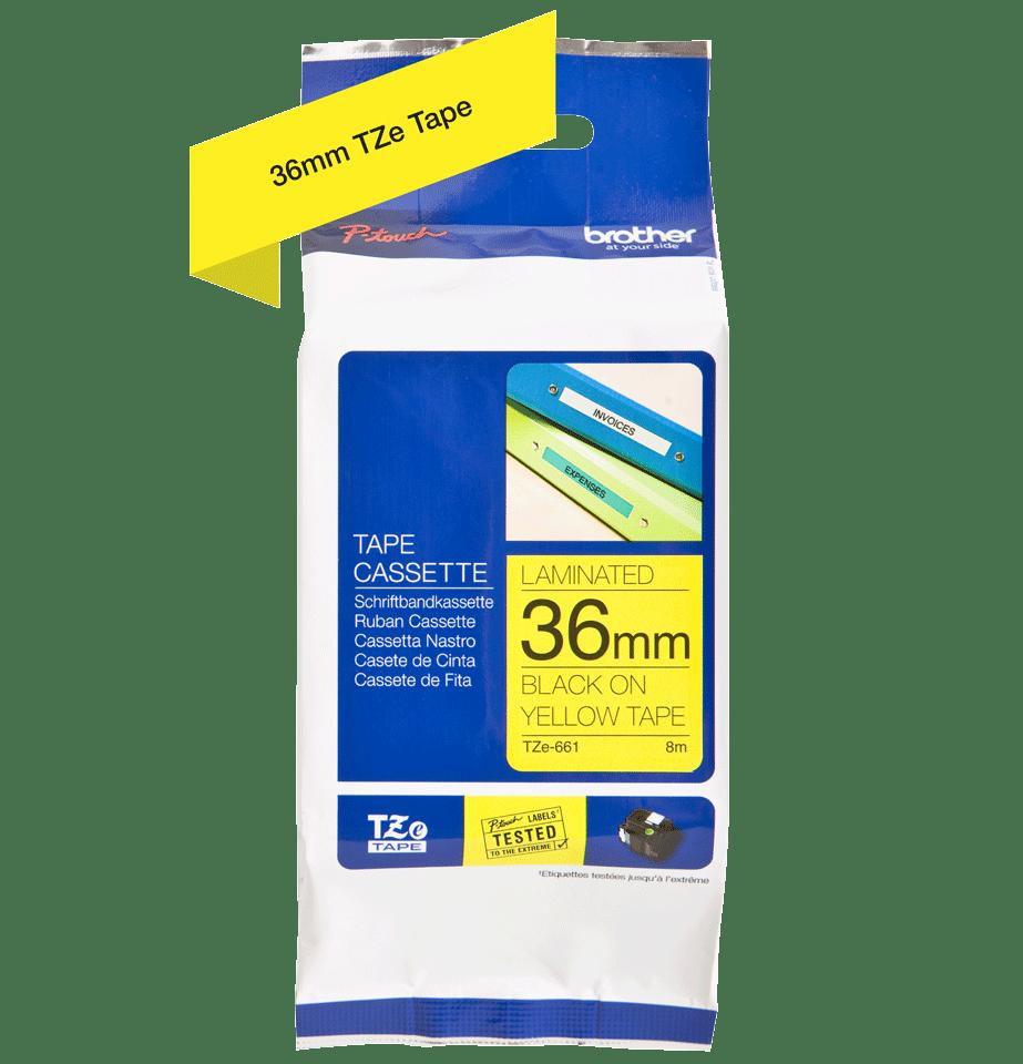 Cassette à ruban pour étiqueteuse TZe-661 Brother originale – Noir sur jaune, 36mm de large 1