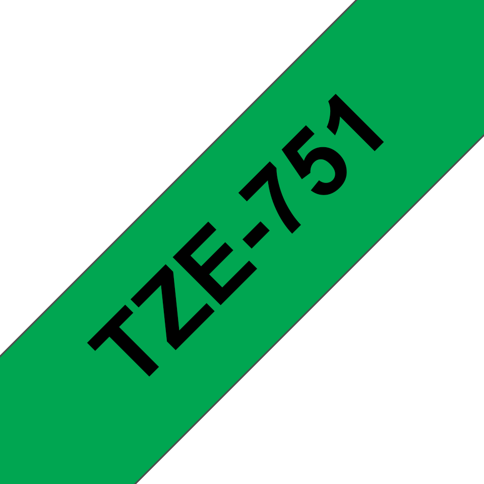 Originele Brother TZe-751 labeltape cassette – Zwart op groen, 24mm breed 2