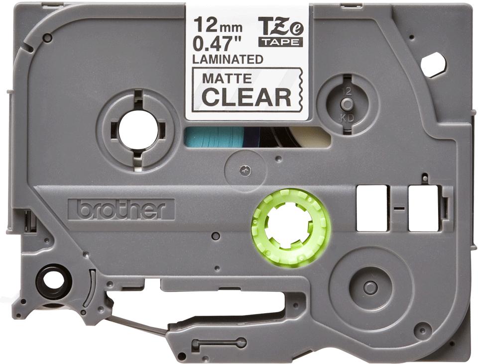 Originele Brother TZe-M31 labeltape cassette – Wit op mat transparant, 12mm breed 0