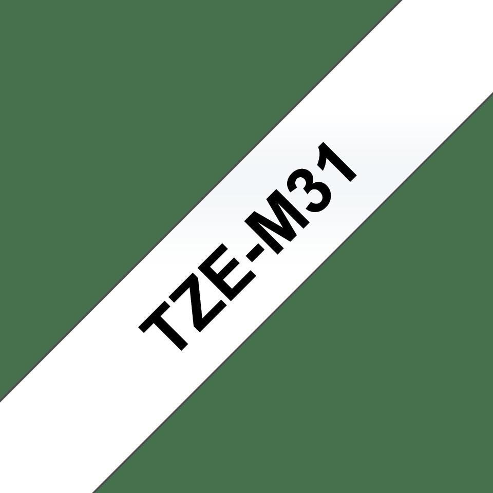 Originele Brother TZe-M31 labeltape cassette – Wit op mat transparant, 12mm breed 2