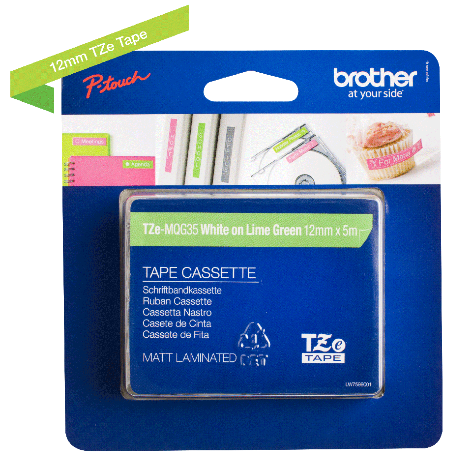 Originele Brother TZe-MQG35 labeltape cassette – Wit op mat limoengroen, 12mm breed 1