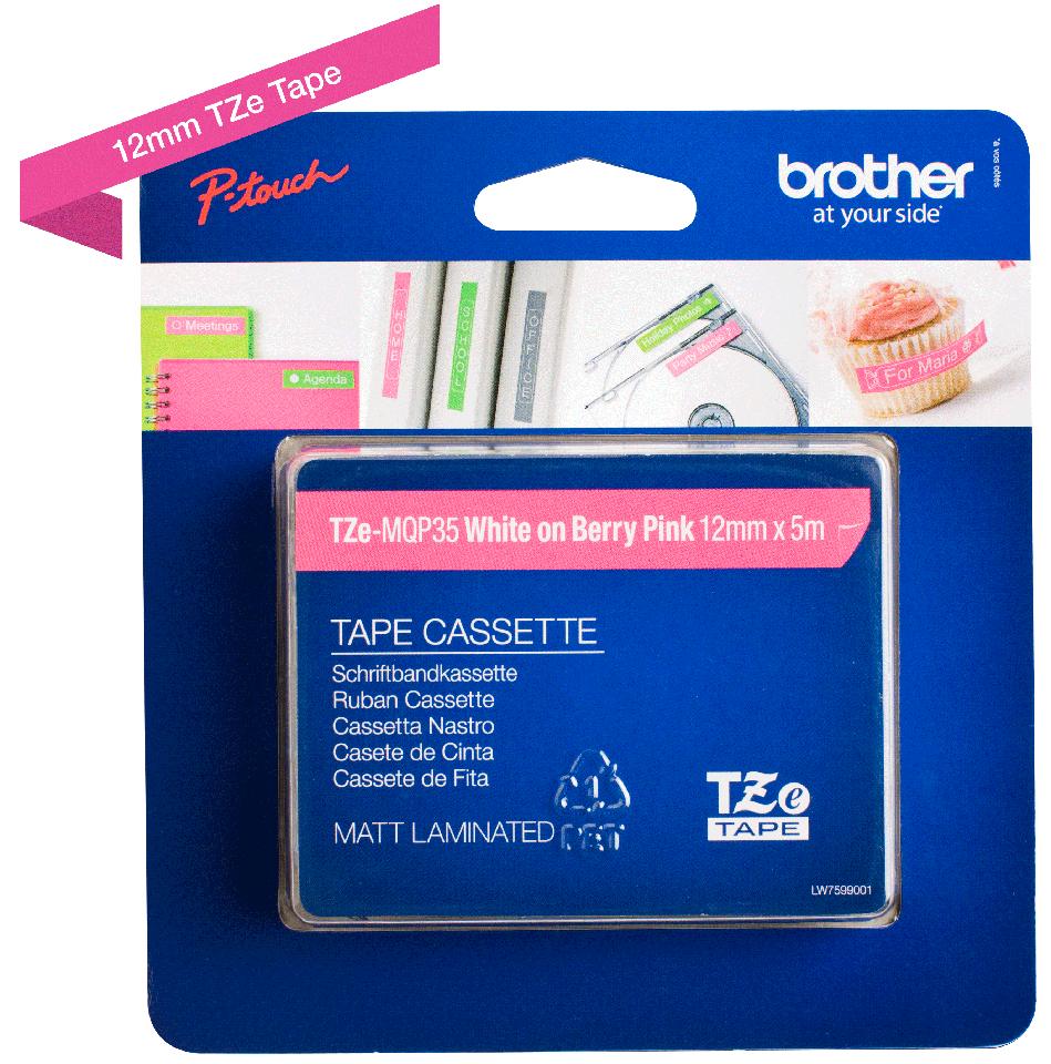 Cassette à ruban pour étiqueteuse TZe-MQP35 Brother originale – Blanc sur rose fuchsia mat, 12mm de large 1