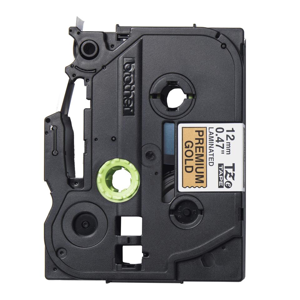 TZe-PR831 labeltape zwart op premium goud - 12mm