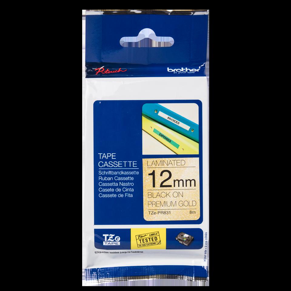 TZe-PR831 labeltape zwart op premium goud - 12mm 2