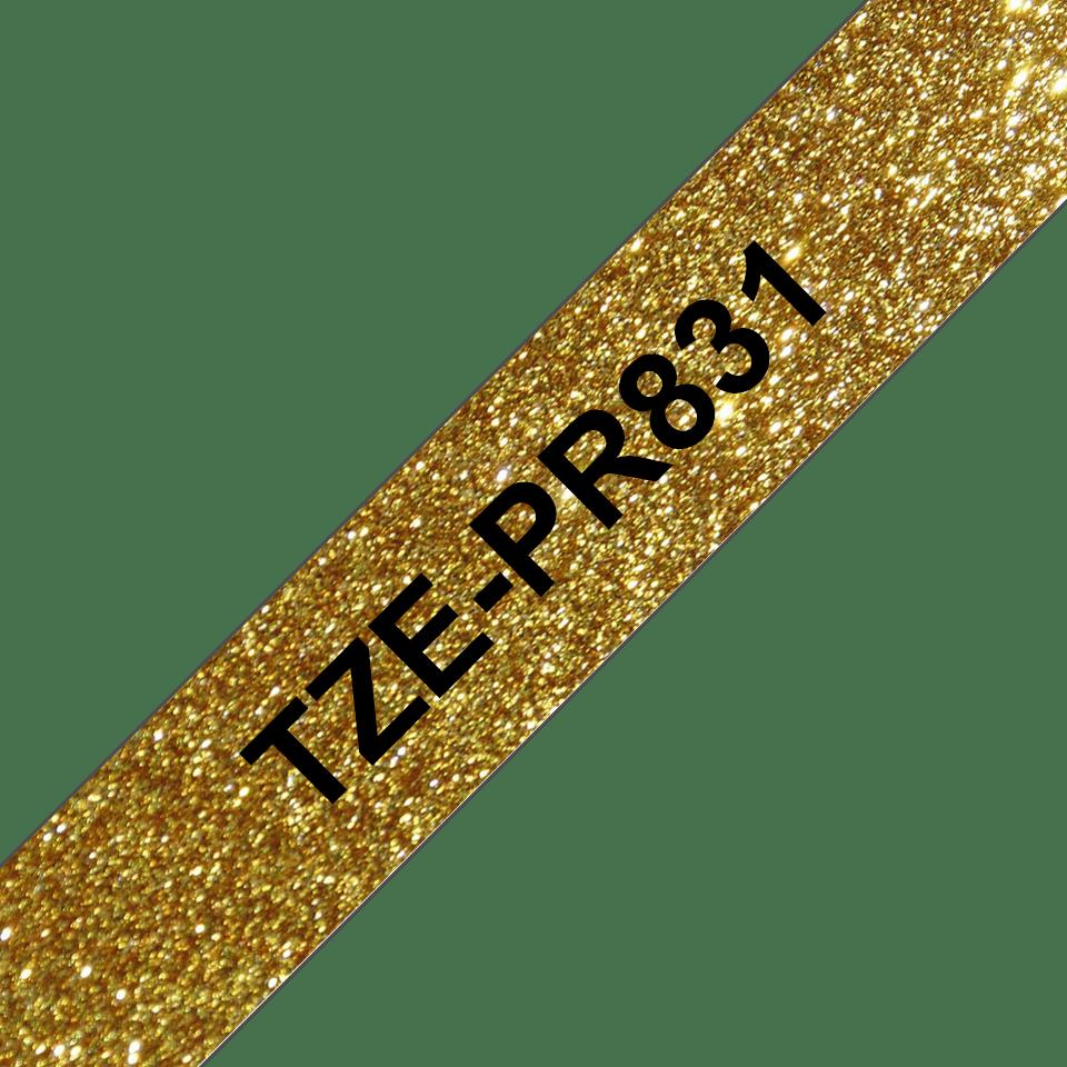 TZe-PR831 labeltape zwart op premium goud - 12mm 3