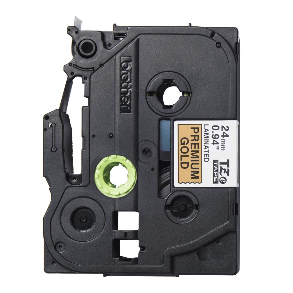 TZe-PR851 labeltape zwart op premium goud - 24mm