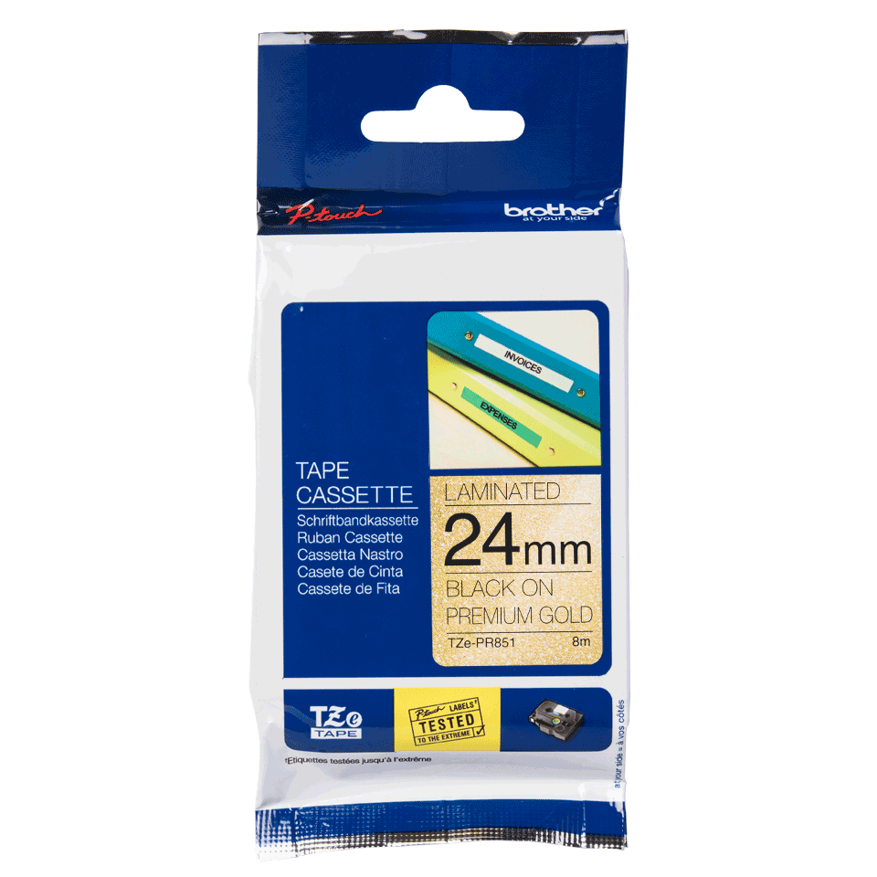 TZe-PR851 labeltape zwart op premium goud - 24mm 2